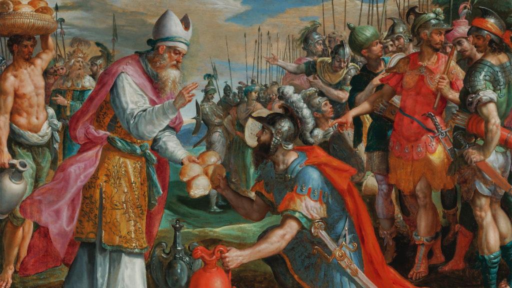 Melhisedec (Melchisedec) primește zecuială de la Avraam